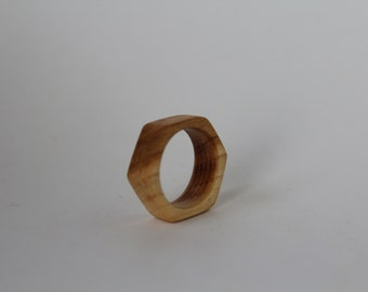 "Wooden Ring, Cherry Wood, Wooden ring ""Hexagon""."