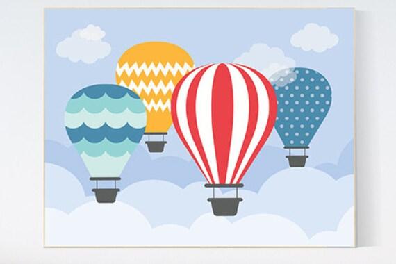 hot air balloon nursery print nursery decor playroom decor. Black Bedroom Furniture Sets. Home Design Ideas