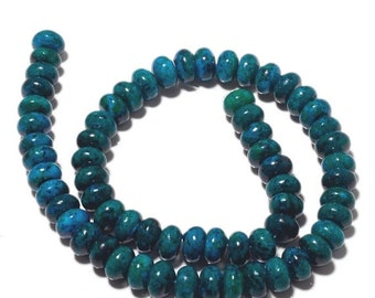 ON SALE 50% Chrysocolla Rondelle Beads, Chrysocolla Color Jasper Beads, Huge 10mm Each, 15 Inch strand, SKU-Mm9