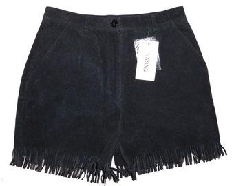 Vintage Black Fringe Suede Leather Shorts Size 12 NEW DEADSTOCK