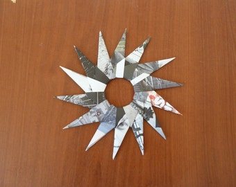 Paper star, origami star with black/white images