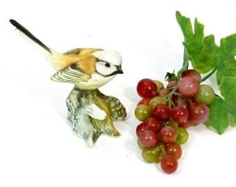 Vintage Tit Bird Figurine - Ceramic Tit Bird Figurine - Vintage Bird Figurine - Collectible Bird - Handpainted Tit Bird on a Branch