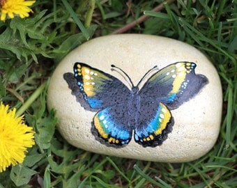Hand Painted Moth Rock - Painted Rocks - Butterfly Moth Rock - Painted Moth - Moth Rock - Garden Decor -