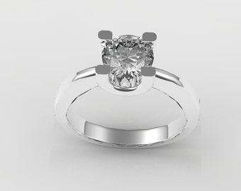 A modern engagement style ring.