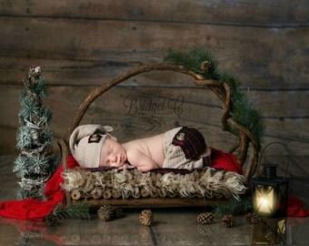 Upcycled Boy pant set, Plaid pant set, Newborn pant set, Baby boy pant and hat, Photography pant prop