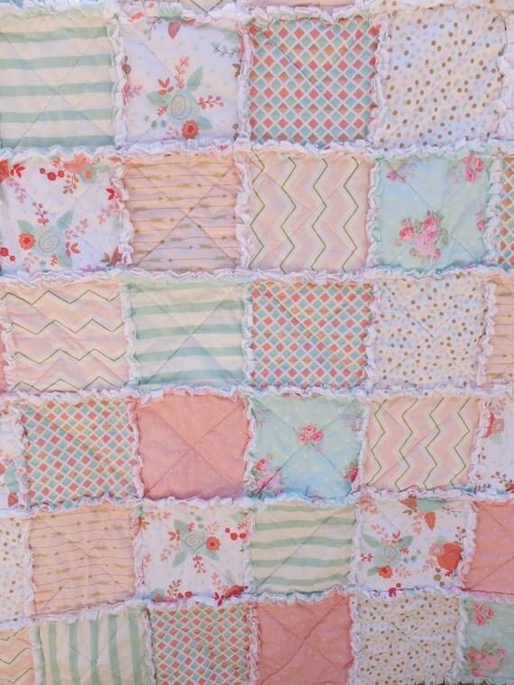 Baby girl crib quilt modern crib bedding in pinks corals - Modern baby girl crib bedding ...