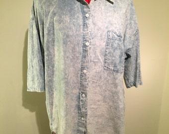 Acid wash 80s denim shirt