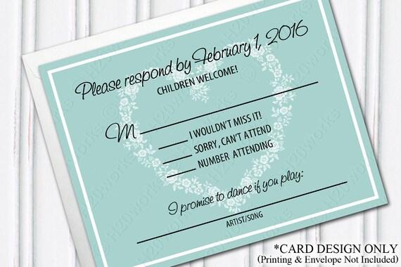 Blended Family Wedding Invitations: Blended Family Wedding RSVP Card Design Aqua Teal Robins