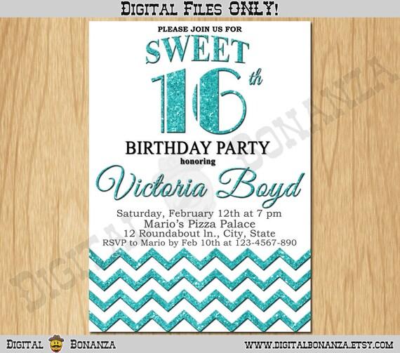 Sweet 16th Birthday Invitation Sixteen White Turquoise