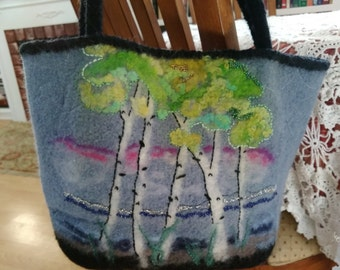 Blue & Black Felt Fulled Shoulder Bag Tote Trees Motif, Ladies Felted Shoulder Bag, Felted Purse, Trees Motif