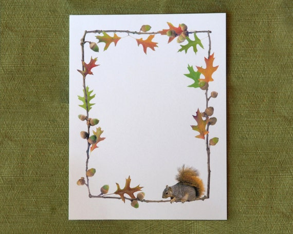 Oak Leaves Acorns Squirrel Fall Digital Border From