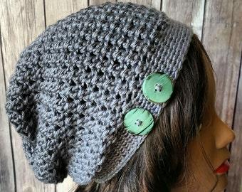 Crochet Women's Grey Slouchy Hat