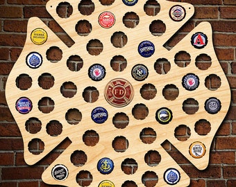 Firefighter Maltese Cross Engravable Beer Cap Map with Color Medallion - Fireman Decor, Man Cave, Home Bar, Gifts for Firefighters Christmas