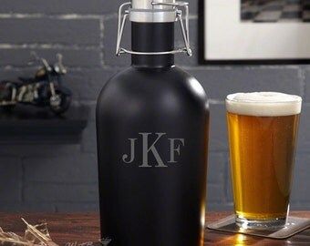 Classic Monogram Steel Beer Growler - Beer Gifts Customized with Initials of Your Choice - Unique Birthday Gifts for Women or Men