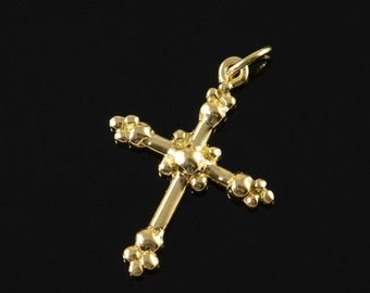 1 Day Sale 18K Ball Accented Cross Pendant Yellow Gold