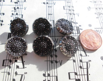 Czech Glass Floral Art Deco black antique vintage buttons