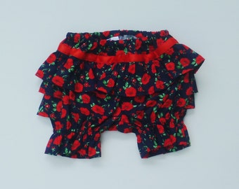 Baby girls bloomers,  Red and Navy poppy bloomers, Girls clothing, , sizes 3,6 months