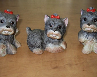 Vintage Homco Yorkshire Terriers 3 Little Dogs