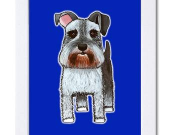 Schnauzer with blue background-Watercolor-Illustration-Dog-Wall Art