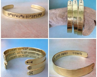 Custom Bracelet Gold, Personalized Gold Bracelet, Secret Message Bracelet, Custom Stamped Bracelet, Custom Quote Bracelet, Red Fern Studio