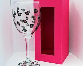 Leopard Print Wine Glass with Presentation Box