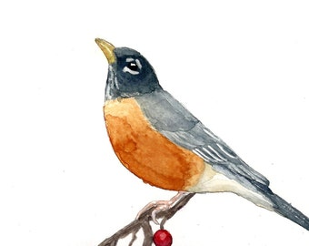 Watercolor Robin Print 8 x 10