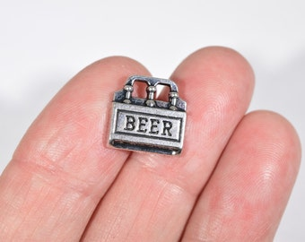 8 Beer case charms | silver beer charms | case of beer charms | beer bottle charms | alcohol charm | drinking charms | party charms | SC1377