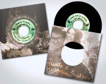 "Wedding card ""Vinyl""-personalized vintage style, 45 RPM vinyl shaped"
