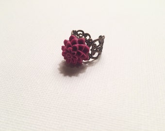 Adjustable pink floral ring