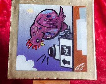 Chicken Crossing: A Glitter Art Tile by Carolyn Main