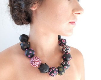Big bold necklace, necklace, jewellery, unique necklace, bold, chunky, black, big beads, statement, one of a kind, pink, handmade, ooak
