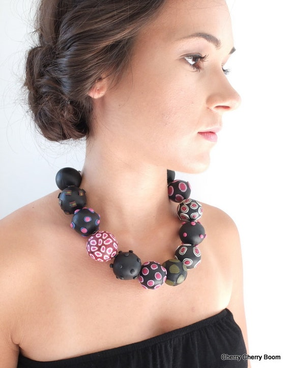 Unique necklace, big beads, necklace, jewelry, statement, bold, chunky, black, pink, ooak, striking, dramatic, artisan, large beads, ooak