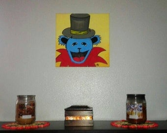 12×12 Grateful Dead Bear Original Canvas, Dead and Co. Art, Grateful Dead Art, Grateful Dead Wall Decor, Gift, Wall Art, Home Decor, Art
