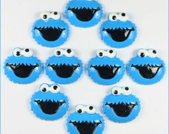 SET of 5 Cookie Monster Cabochons Resin Flatbacks Scrapbooking DIY Hair Bow Center