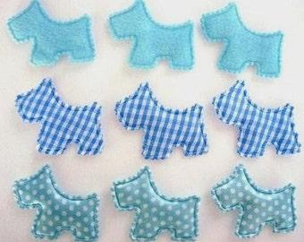 SET of 15 Felt/Plaid/Satin Polka Dots Padded Scottie Dog Puppy Applique Shades of Blue