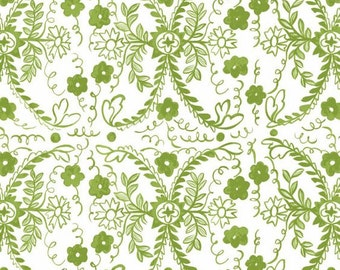 Heritage Floral  Tea Party Cotton Quilt Fabric Blend Green