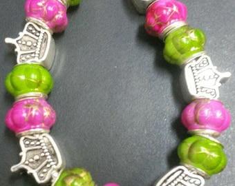 Pink and Green Princess charm Bracelet