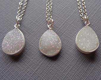 White Druzy Necklace /Teardrop White Druzy / Natural Silver White Druse / Simple Minimal Necklace / GD8