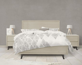 Geometric tribal diamond pattern duvet cover