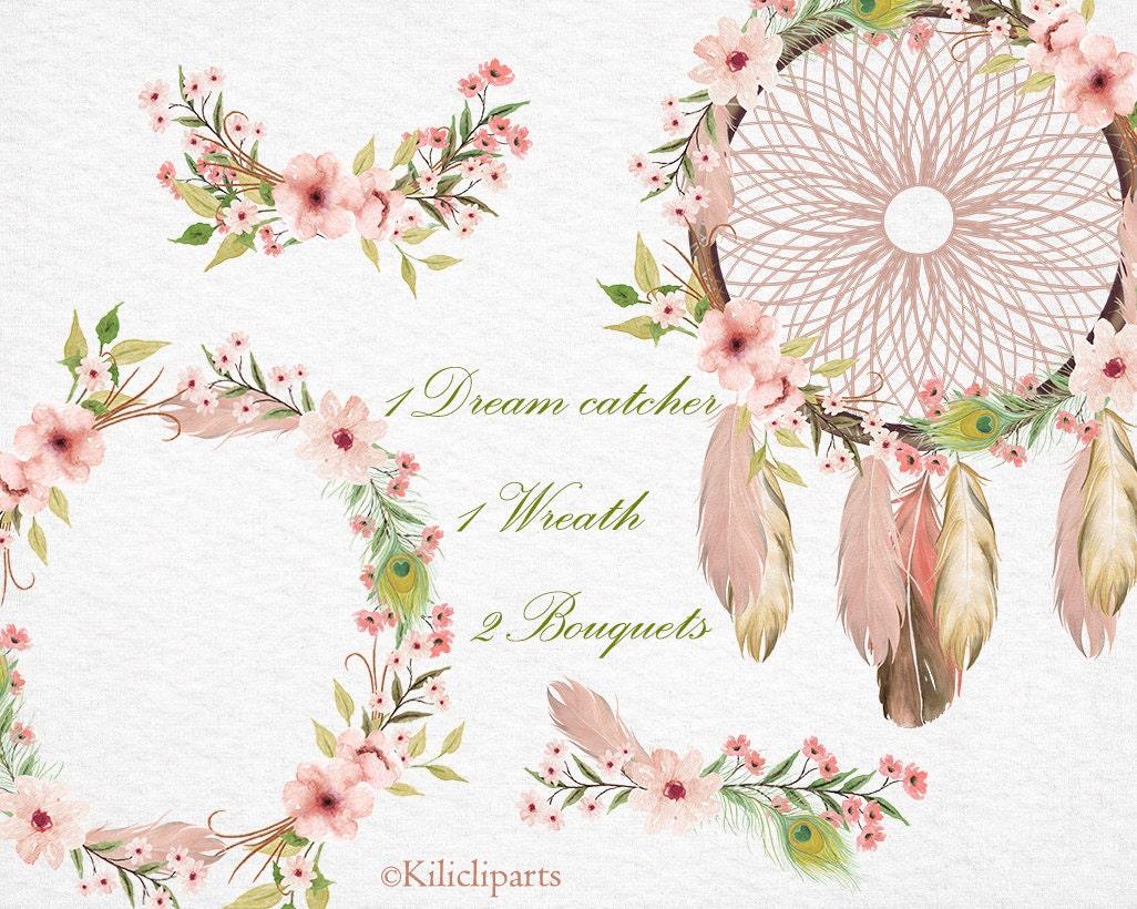 Boho wedding invitation, Dream catcher floral, Wreath ...