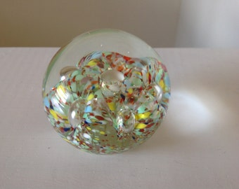 Vintage Glass Paperweight Blown Glass