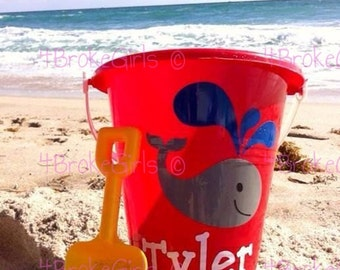 Personalized Beach Bucket  Sand Bucket  Fun in The Sun  Beach Pail  Beach bucket w/shovel  Bucket of Fun Birthday Bucket Vacation Bible Scho