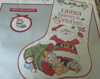Needle Treasures Counted Cross Stitch Kit 02872 I Believe In Santa Stocking Garland Trim Toy Bag Santa Claus Joan Marchie 10 x 16 ""