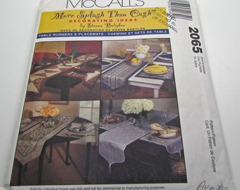 McCall's 2065 Sewing Pattern Table Runner Placemats Bordered Sheer Patchwork Decorating Ideas Donna Babylon Uncut Pattern