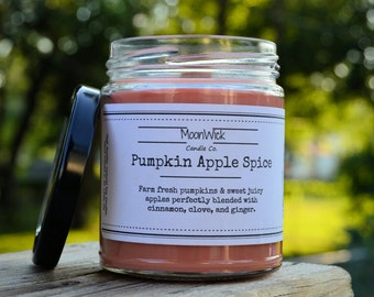 Pumpkin Apple Spice Soy Candle   8oz Glass Jar   Wooden Wick   Highly Scented & Hand-Poured