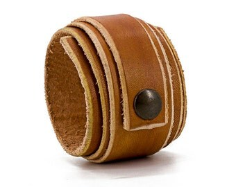 Tan Leather Wristband, Cuff Wrap Bracelet, Free shipping