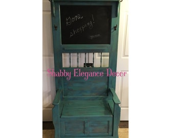 Hall Tree entry with hooks, chalkboard, storage under seat - local pick up only