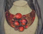 Statement necklace large Bib necklace Red gold necklace large necklace elegant necklace massive necklace polymer clay necklace