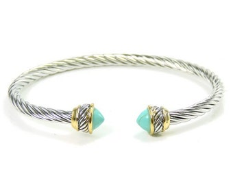 Turquoise cable bracelet