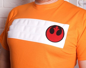 Star Wars inspired X-Wing pilot T-shirts with rebel insignia and X-Wing sillouette on the back